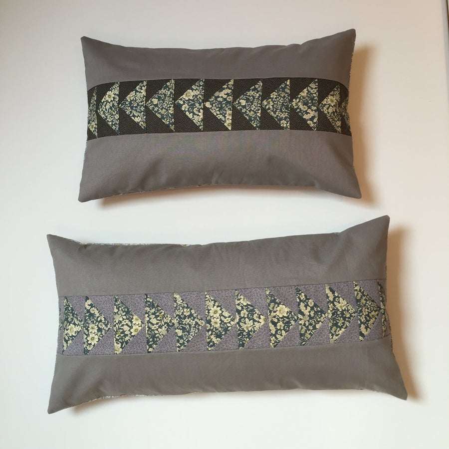 Image of Flying Geese Bolster Cushion in Pewter