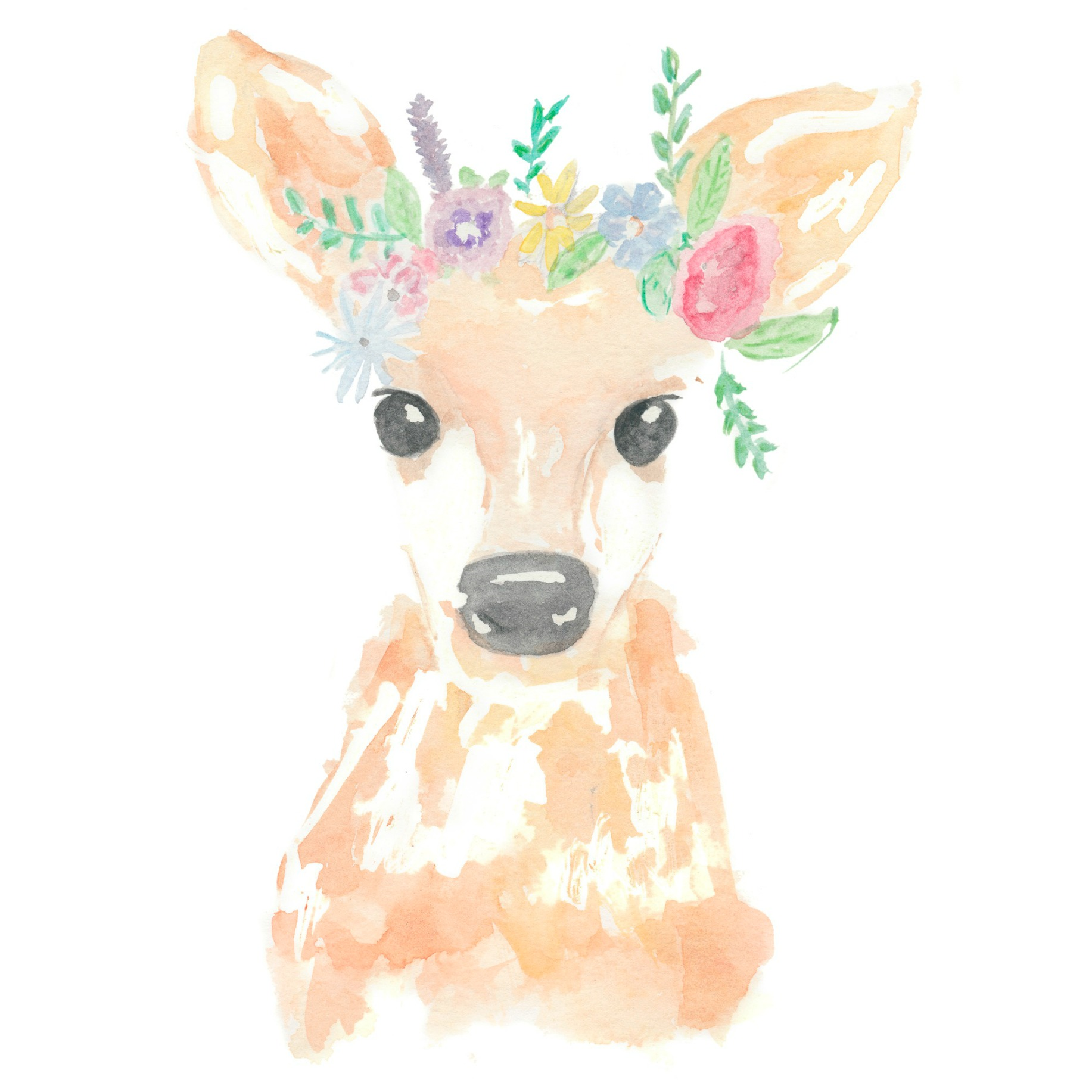 Flower Crown Deer / brush & water
