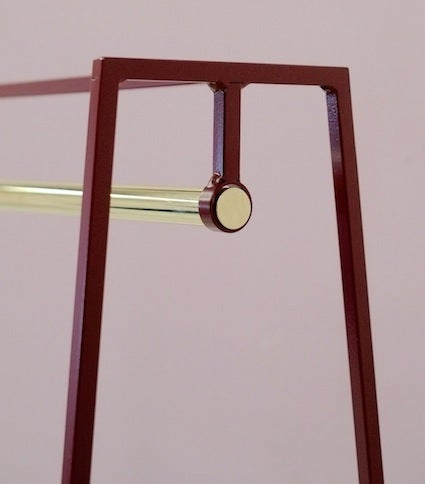 Image of 'A' clothes rail in beetroot | Brass pole