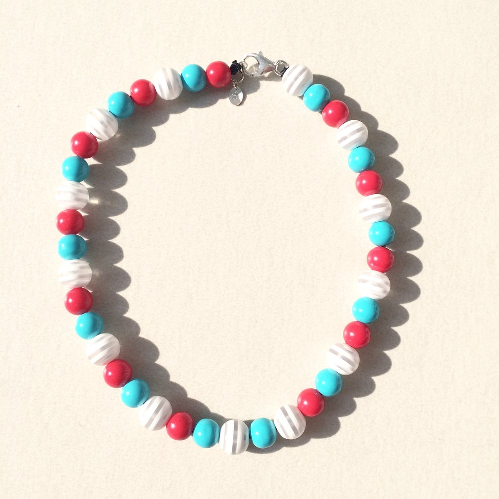 Image of Vail ~ Red, White & Teal Beaded Dog Necklace