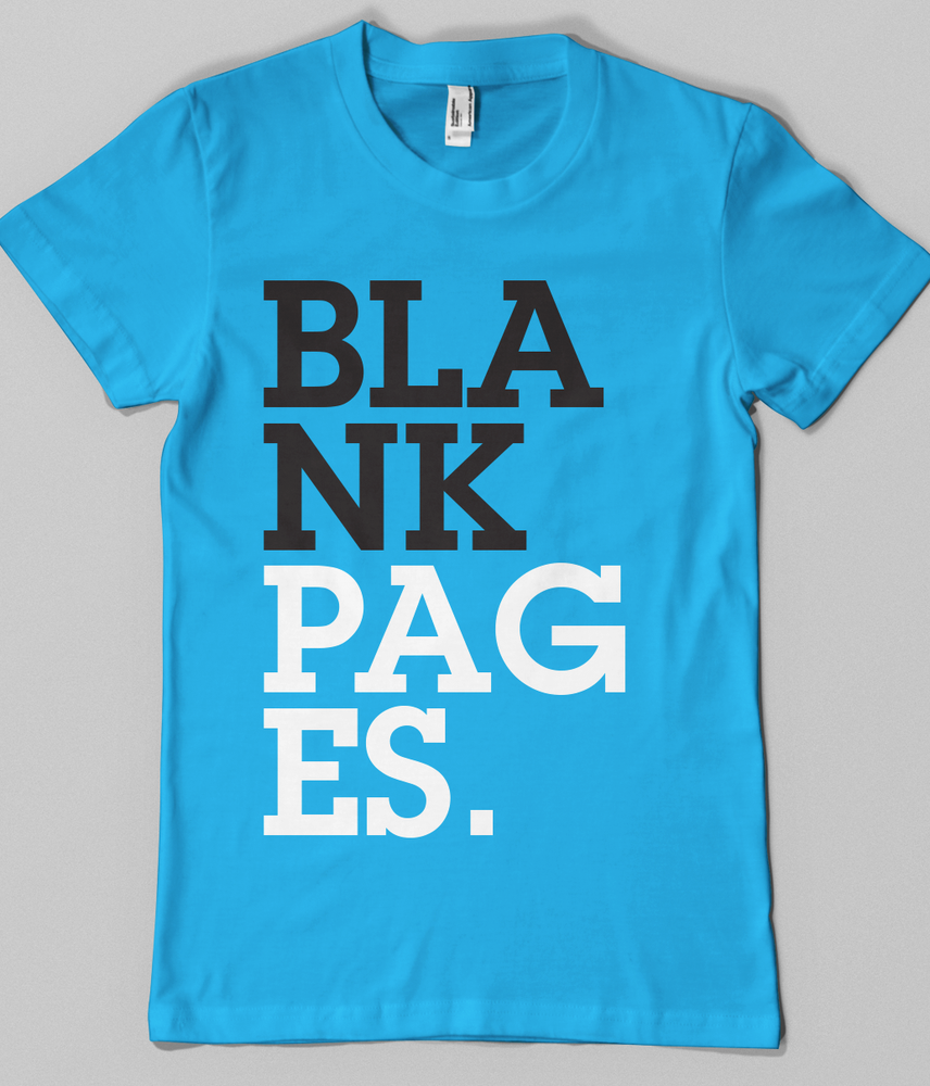 Image of Turqoise BLANK PAGES. T-Shirt