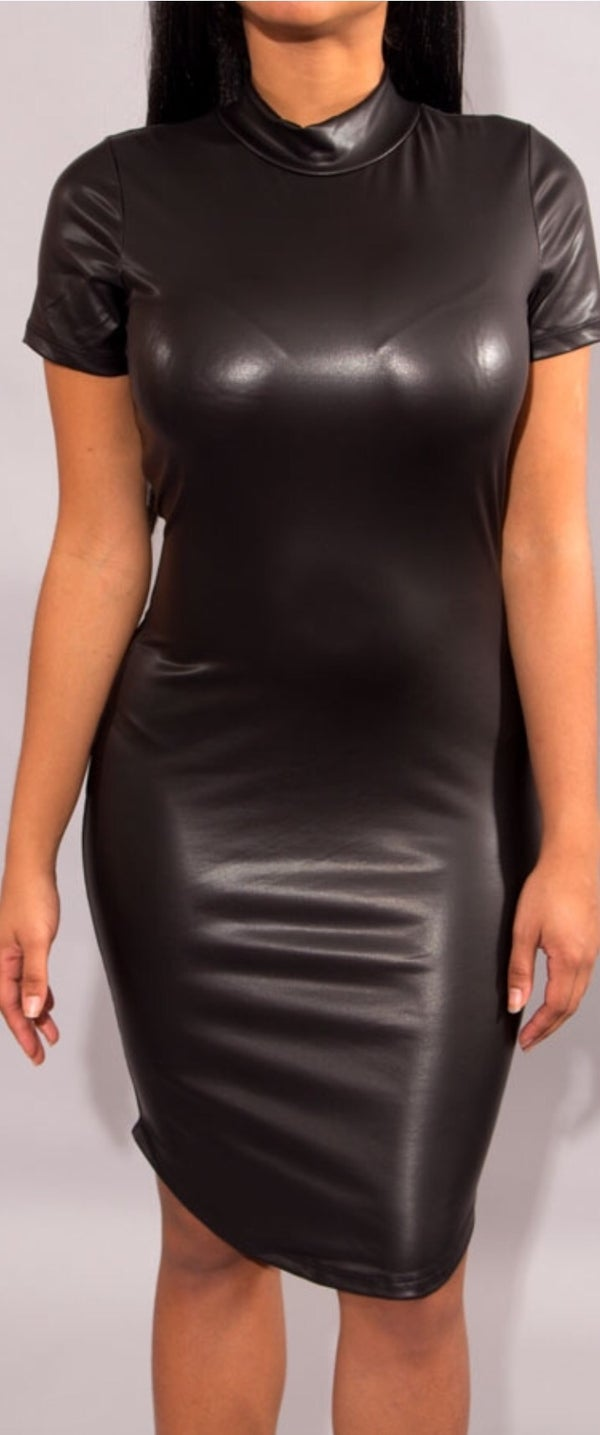 Image of Fuax Leather Heather Dress