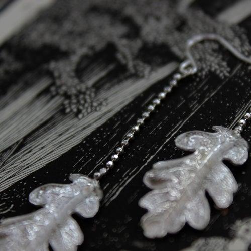 Image of oak leaf drop earrings