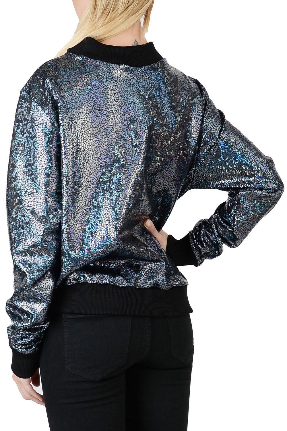 Image of Womens Black Disco Bomber Jacket