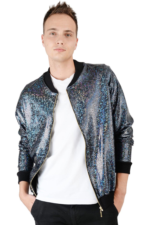 Image of Mens Black Disco Bomber Jacket