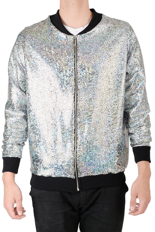 Tirade 13 — Mens Silver Disco Bomber Jacket