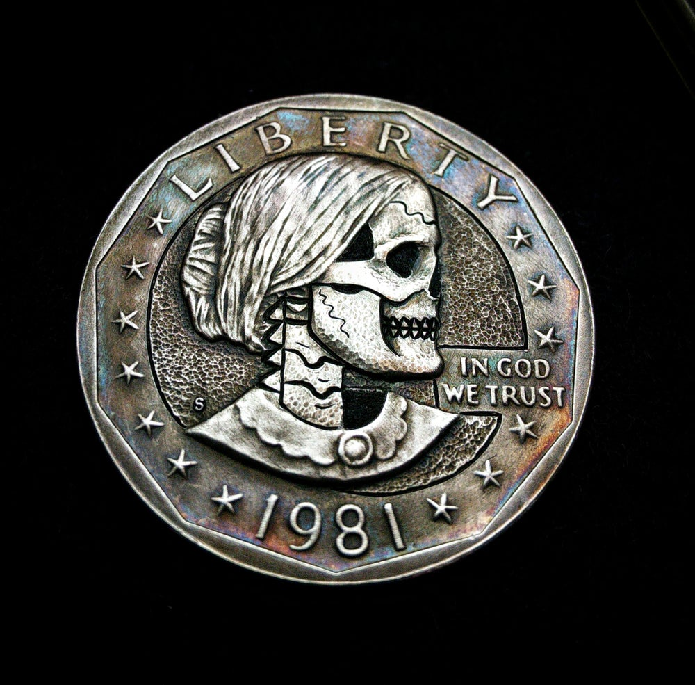 Image of Susan B Anthony Dollar Skull - Made To Order