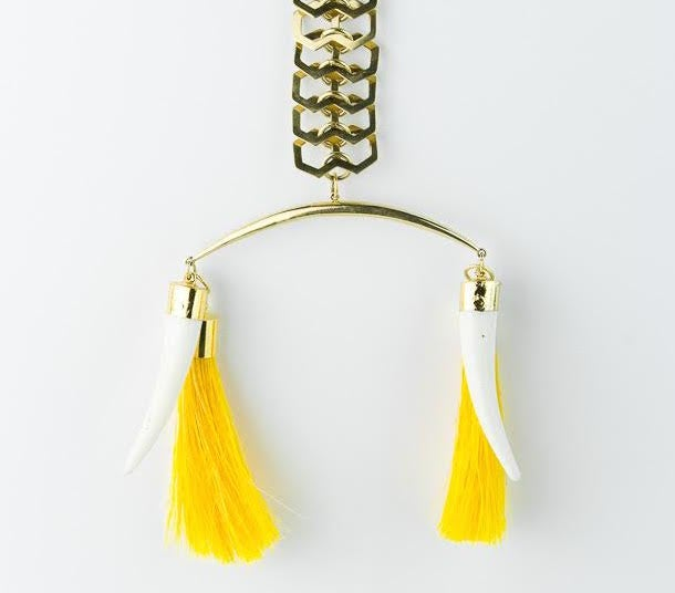 Image of Yellow horsehair and bone tusk necklace