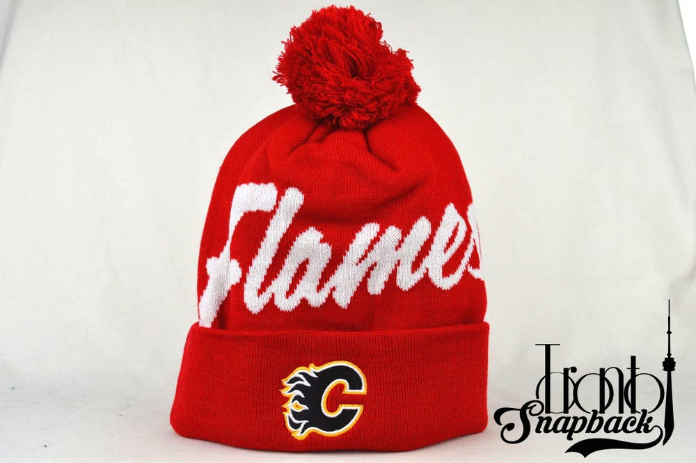 Image of CALGARY FLAMES RED & WHITE NHL MITCHELL & NESS WINTER BEANIE