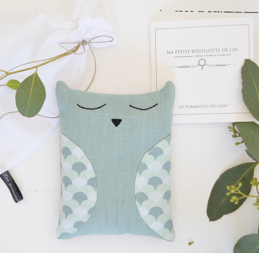 les pommettes du chat bouillotte chouette bleu vert en graines de lin. Black Bedroom Furniture Sets. Home Design Ideas