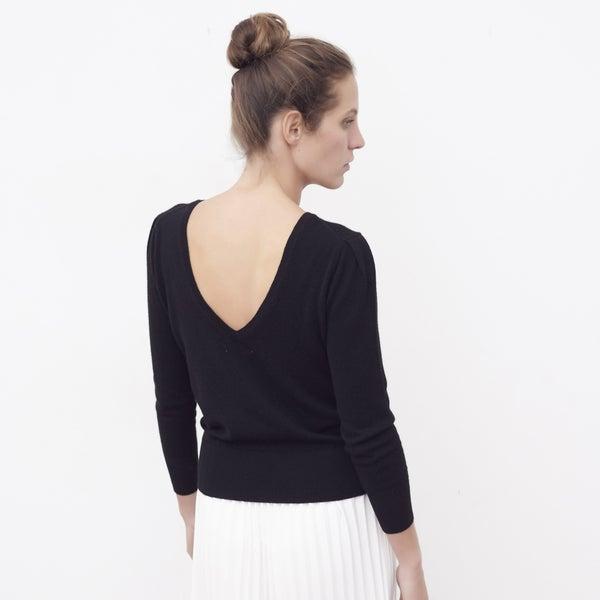 Pull cachemire Louise noir - Maison Brunet Paris