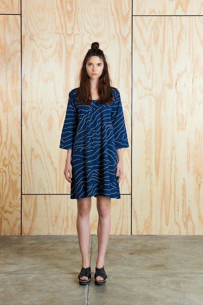 Image of Contours Dress in Navy