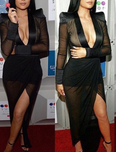 Image of HOT SEXY LONG SLEEVE PERSPECTIVE DRESS