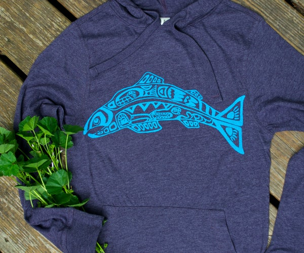 Image of Salmon Spirit- Light, Organic Cotton Blend Hoodie
