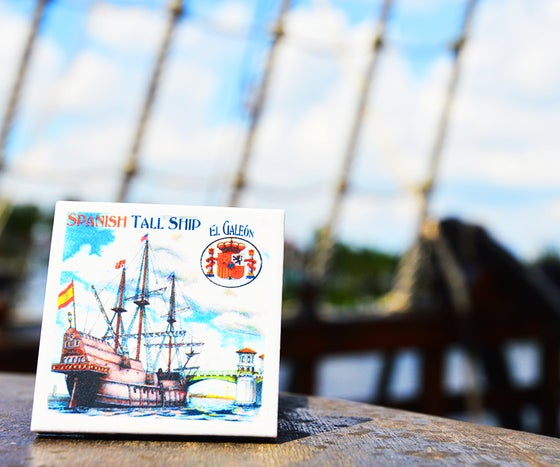 Image of El Galeon Tall Ship Tile Magnet