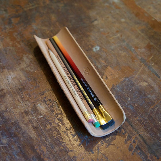 Image of Leather Desk Pencil Tray