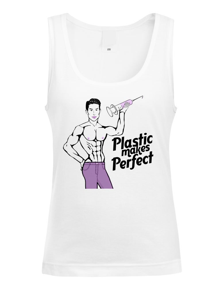 "Image of OFFICIAL JUSTIN JEDLICA CARICATURE ""PLASTIC MAKES PERFECT"" TANK"