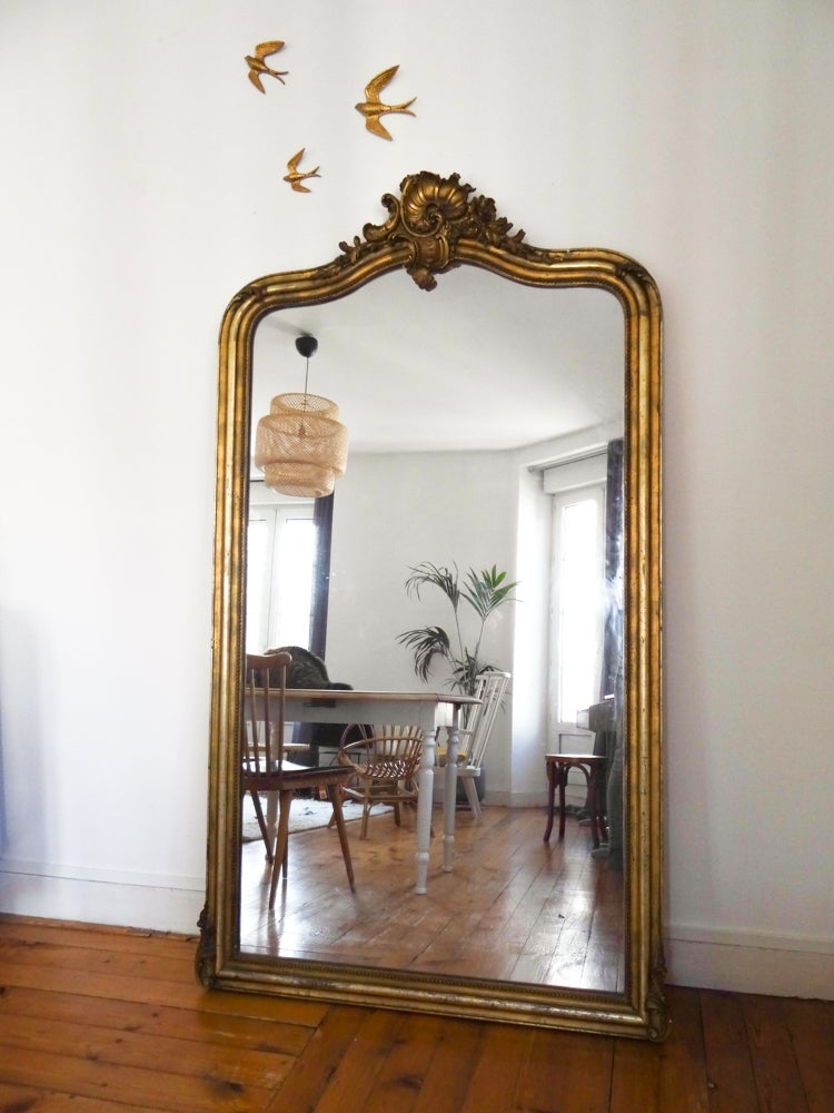 Unehirondelle tr s grand miroir du xixi me si cle for Miroirs anciens