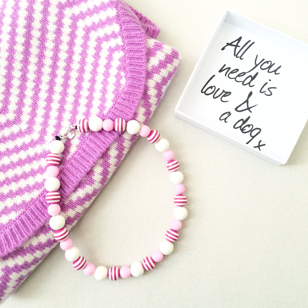Image of Milkshake ~ Pale Pink, White & Pink Striped Necklace