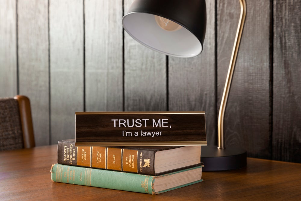 Image of TRUST ME, I'm a lawyer nameplate