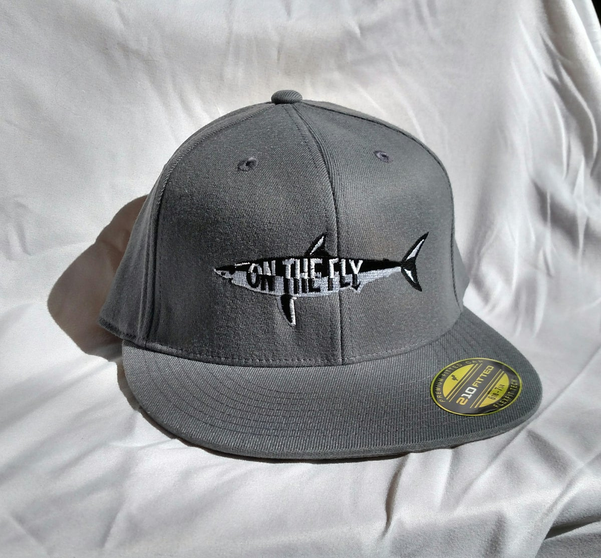 On the fly fishing charters grey flat bill flex fit hat for Fishing flat bill hats