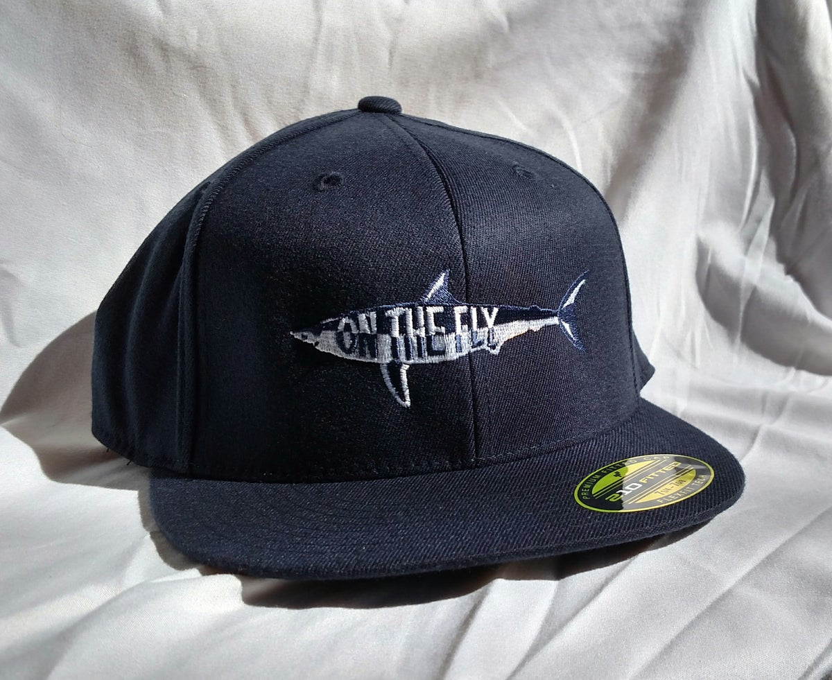 On the fly fishing charters navy flat bill flex fit hat for Fitted fishing hats