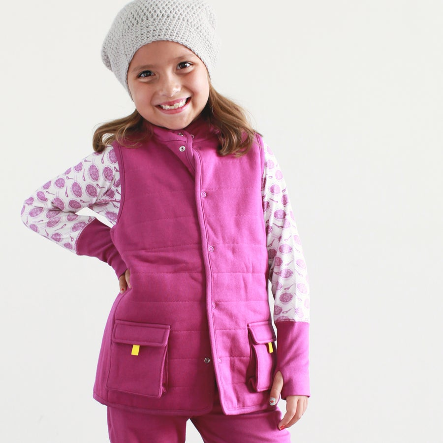 Image of Explore Padded Reversible Vest . Berry Red