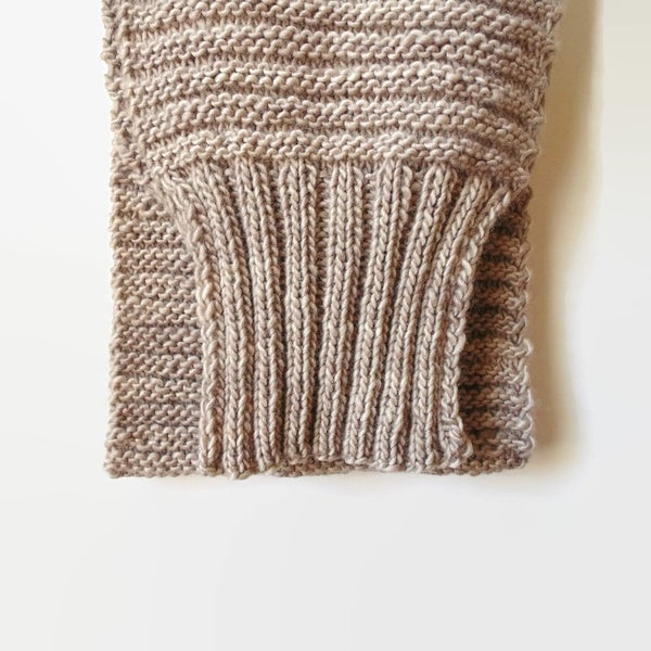 Image of Sweater Scarf Chunky Knit in Beige Pure Wool