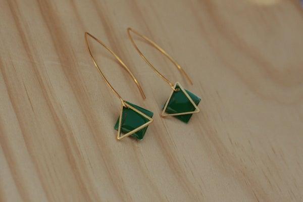 Image of Boucles d'Oreilles Mona Sequin et Triangle Vert