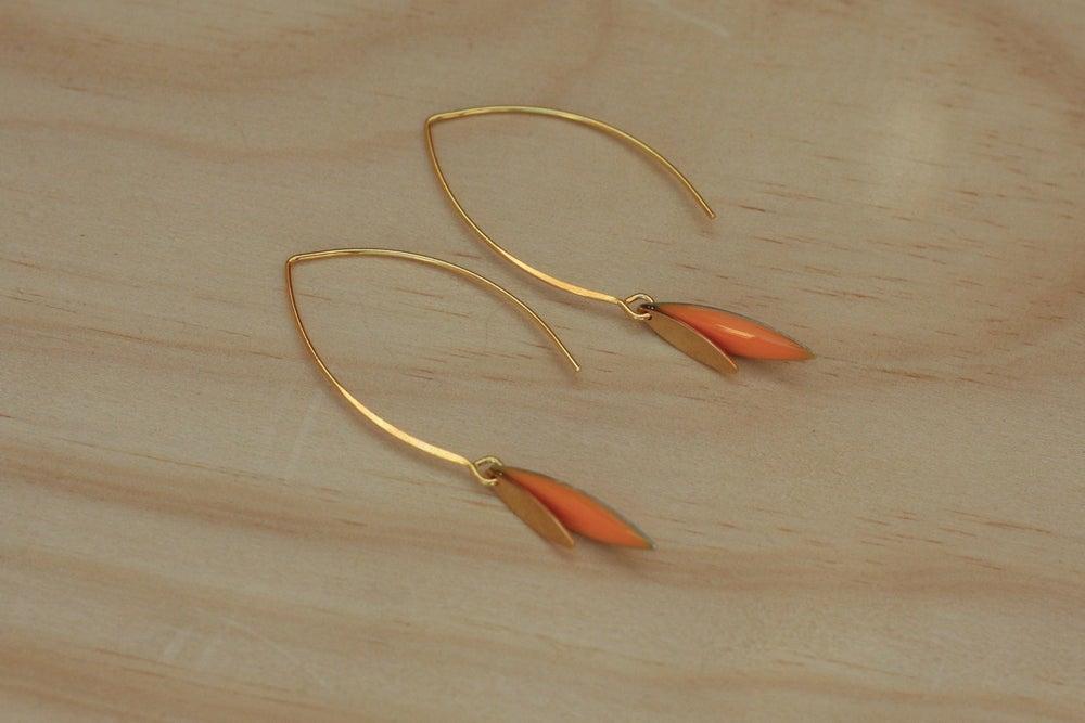 Image of Boucles d'Oreilles Nina Sequin et Navette Orange