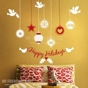 Image of Christmas Ornaments - joy, dove, peace, Removable Window or Wall Decal