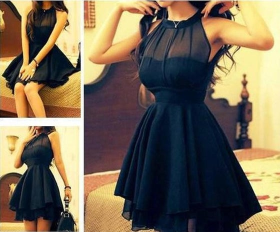 Image of Mesh Front Cute Slim Dress For Women Black