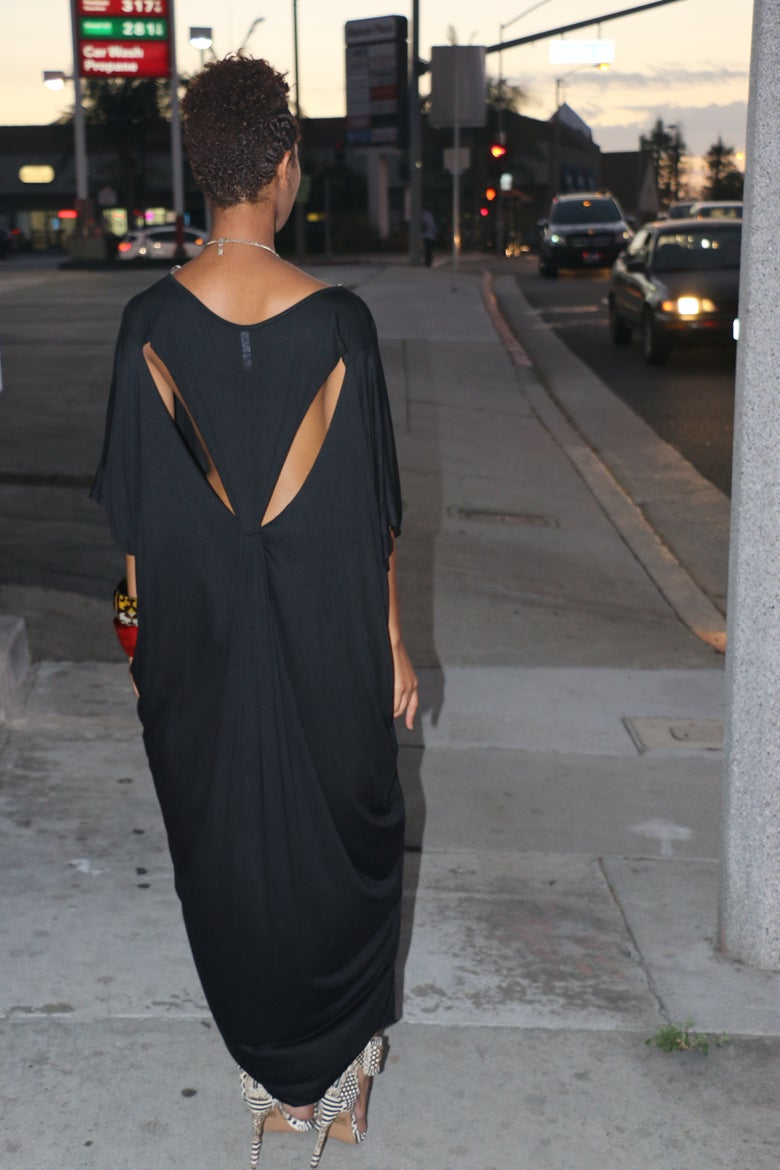 Image of Black Shift Maxi with Back Cut Outs