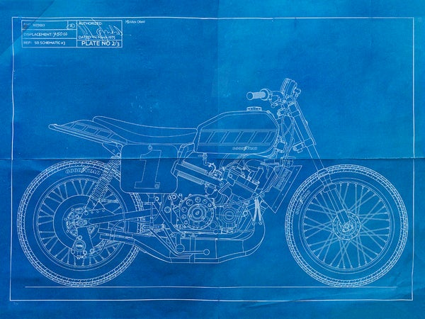 Image of Yamaha TZ700 Giclee Blueprint