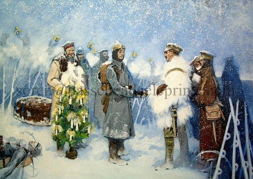Image of The Christmas Truce at Ploegsteert Wood 1914 A3 £40