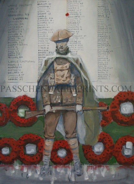 Image of 'MAN AT ARMS'  SIZE A3 GHOST SENTRY AT THE MENIN GATE ~ YPRES