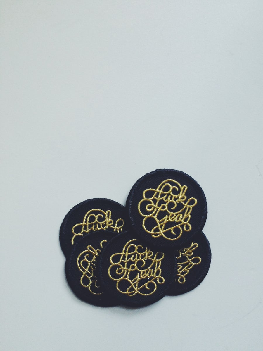 Image of 4 Fuck Yeah Patches, Gold on Black