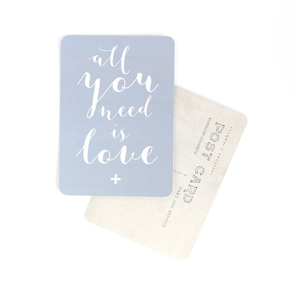 "Image of Carte postale ""ALL YOU NEED IS LOVE / MILA / GRIS BLEU"""