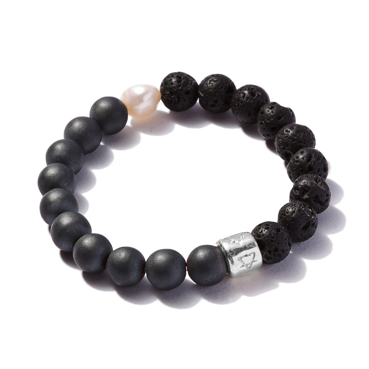 Image of Matte Pyrite with Lava Stone and Pearl