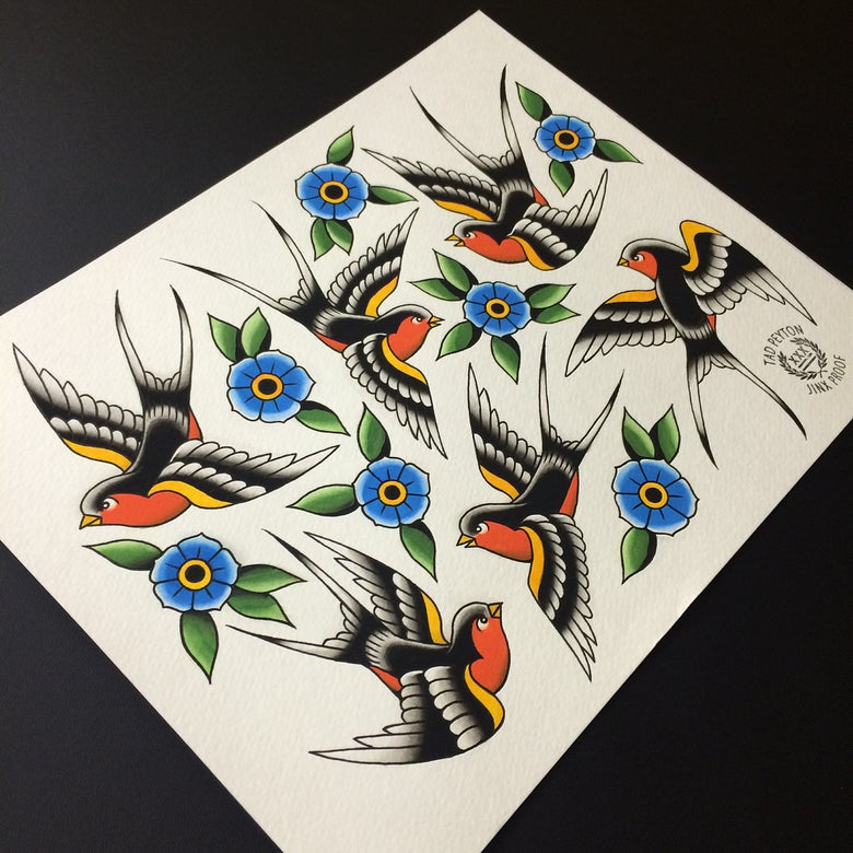 "Image of Swallows & Flowers painting 11""x14"""