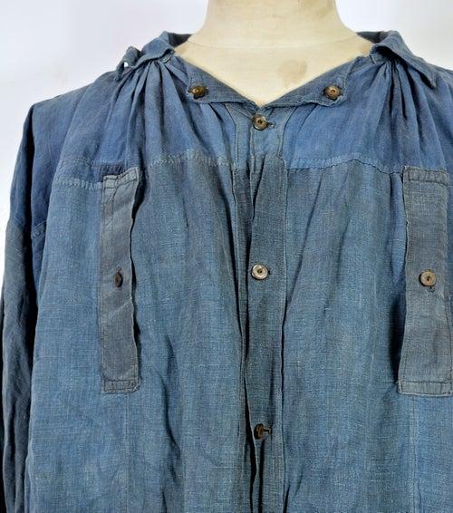 "Image of 1890'S FRENCH INDIGO LINEN ""blouse de maquignon"" BIAUDE PATCHED"