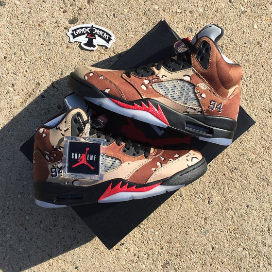 Image of Nike Air Jordan 5 Retro SUPREME 'Desert Camo'