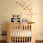 Image of Wall Decal Sticker Pandas Having Fun in Cherry Blossom Field - dd1029