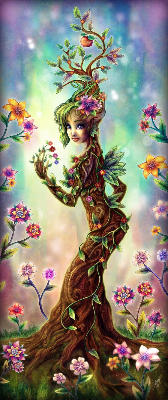 Image of Giclée Print Naturalis Flora - digital art tree girl surrounded by flowers