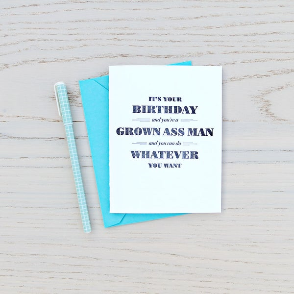 Image of grown ass man birthday letterpress card