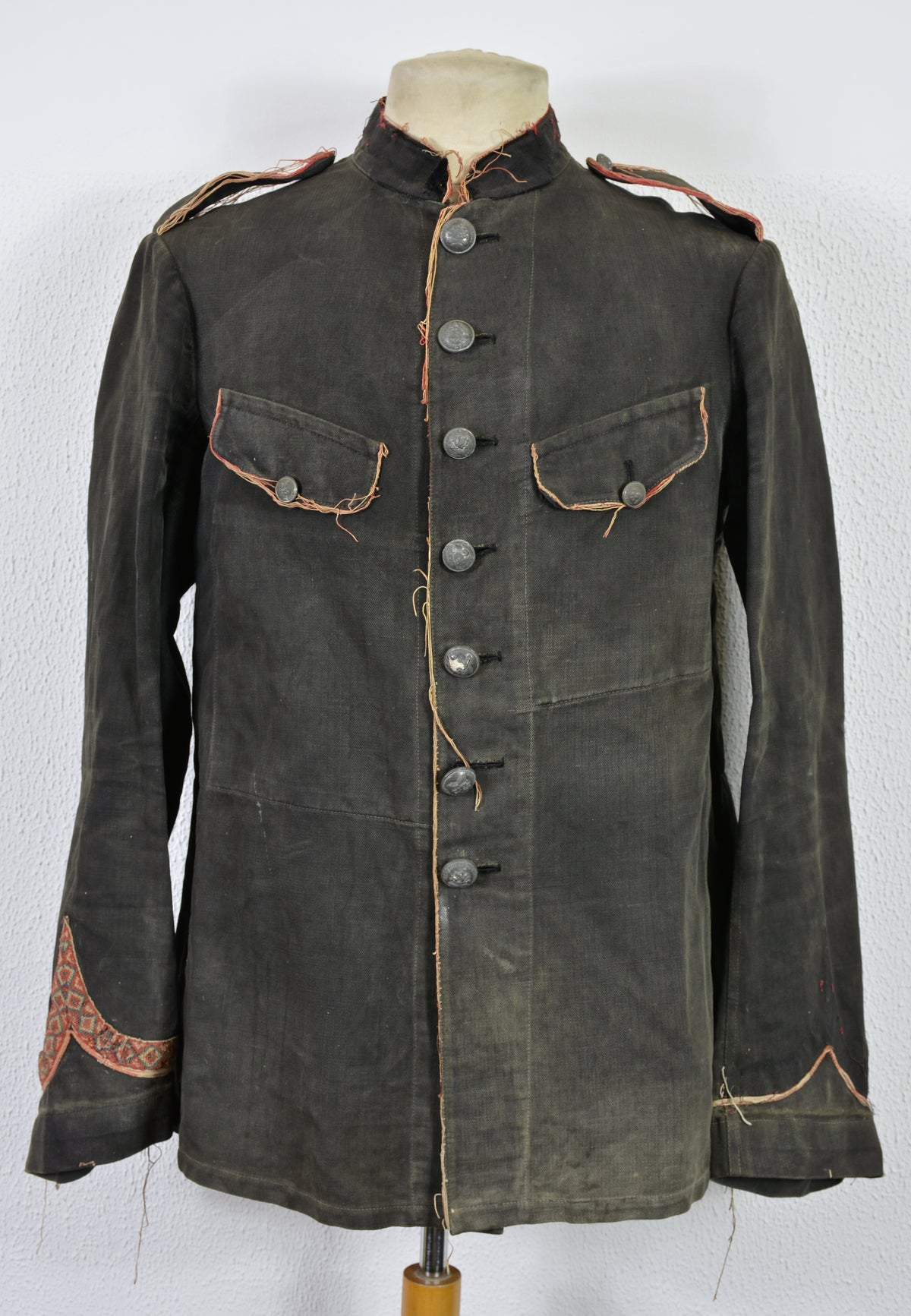 Image of 1880's FRENCH HBT BLACK LINEN FIREMAN JACKET 2 フレンチファイアーマンジャケット