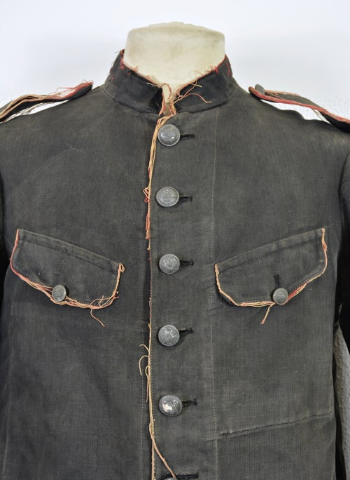 Image of 1880's FRENCH HBT BLACK LINEN FIREMAN JACKET 2