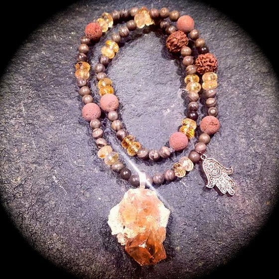 Image of  Fluorite on Muscovite, Jasper, Citrine, Rudraksha, Volcanic Rock, Hamza & Goddess Moon Twin Soul