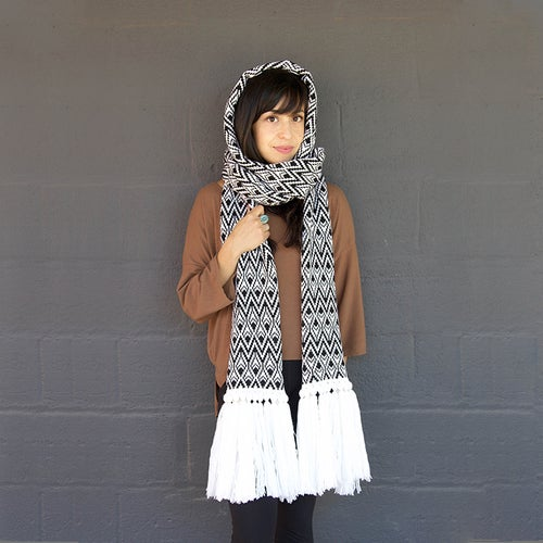 Image of Feather Hoodie Scarf with Fringe