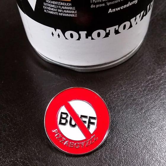 "Image of ""FUCK THE BUFF"" original FIRST LAPEL"